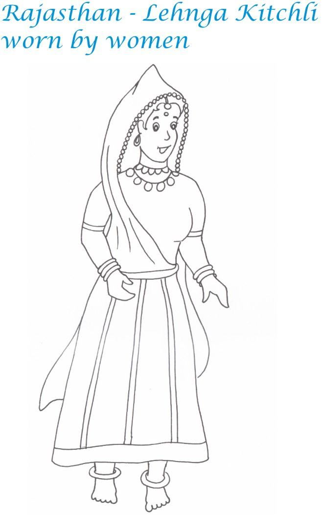 Rajasthan women dressing coloring page for kids