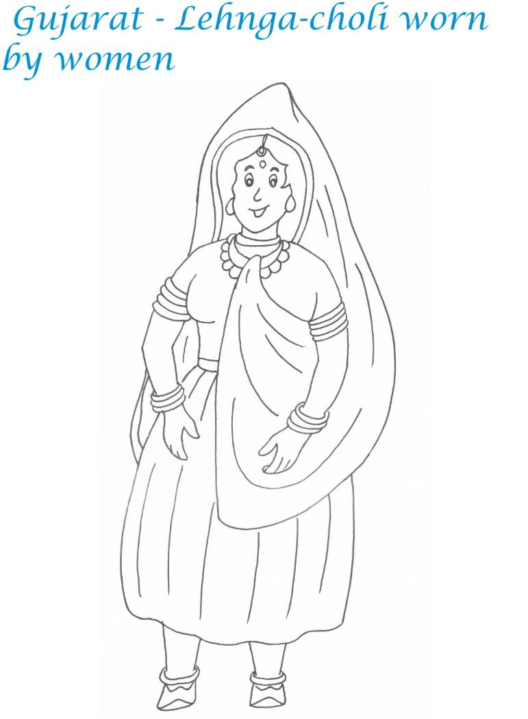Gujarati women dressing coloring page for kids