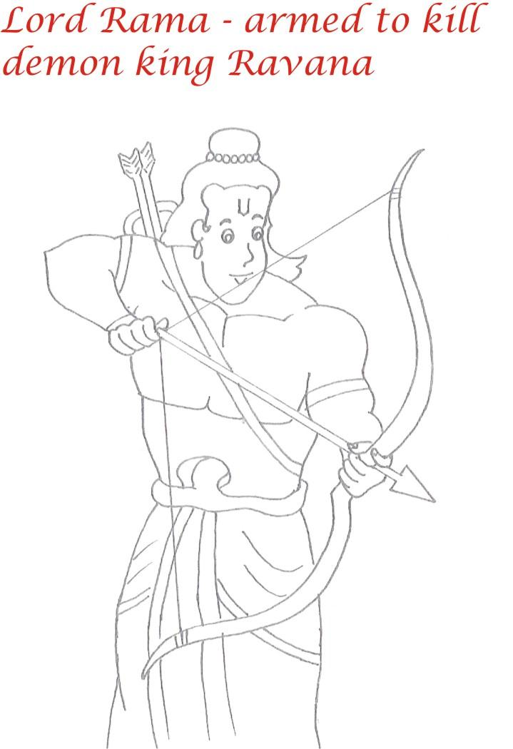 Lord Rama printable coloring page for kids