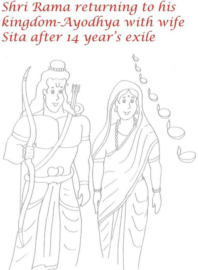 Lord Rama and Sita coloring page for kids