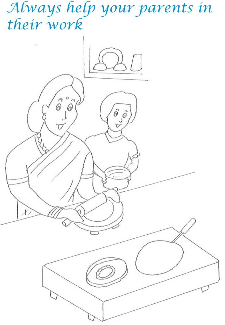Etiquette for kids in home coloring page 12