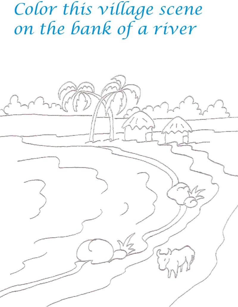 Sceneries coloring pages for kids