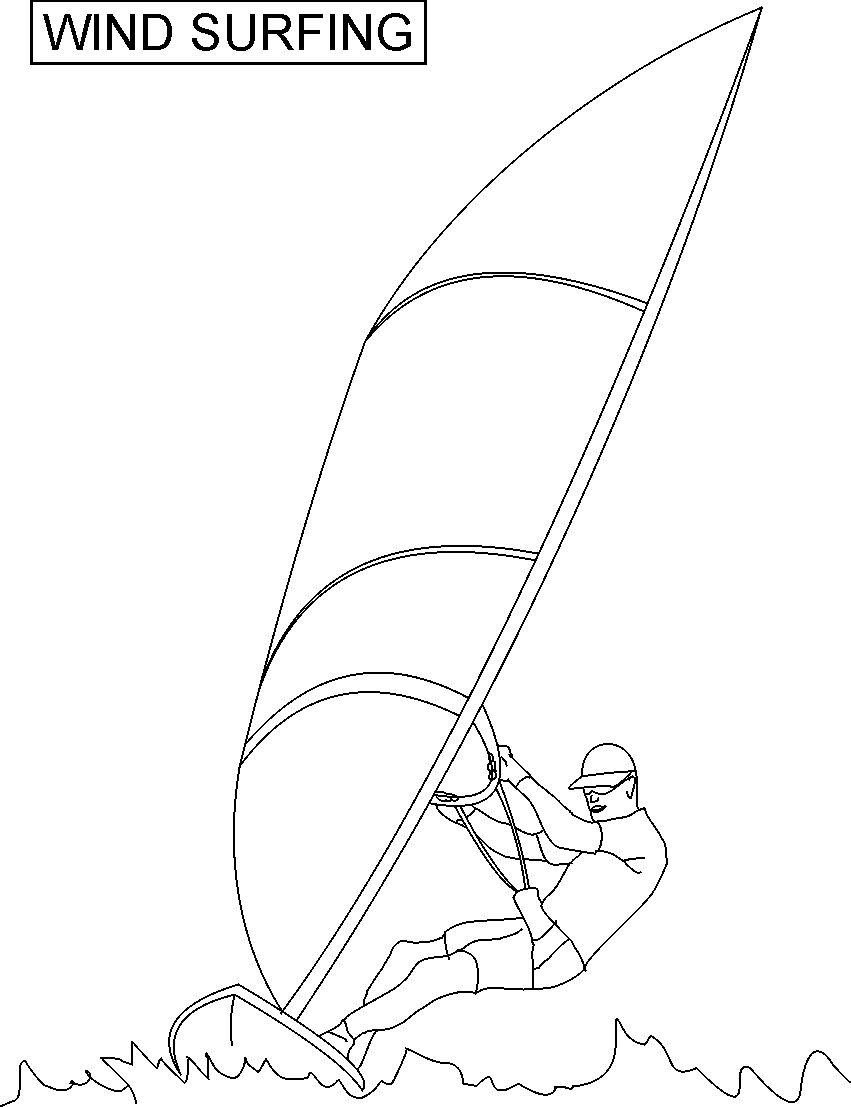 Wind Surfing Coloring Printable Page For Kids