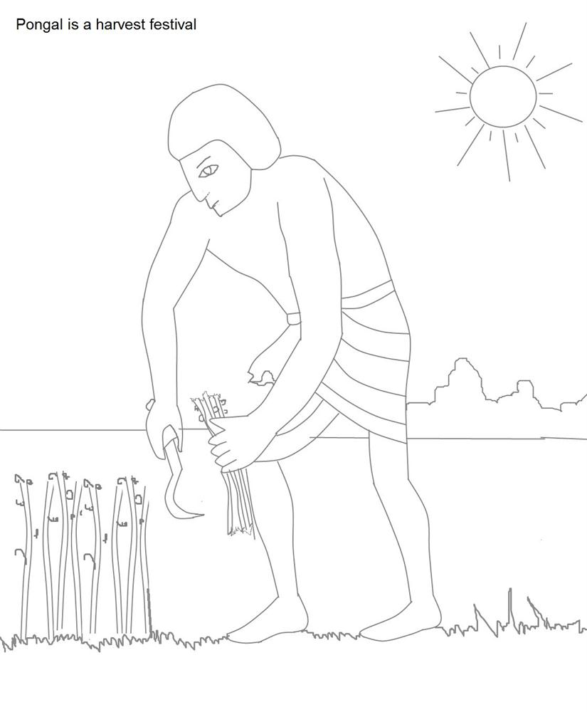 Pongal celebrations coloring pages