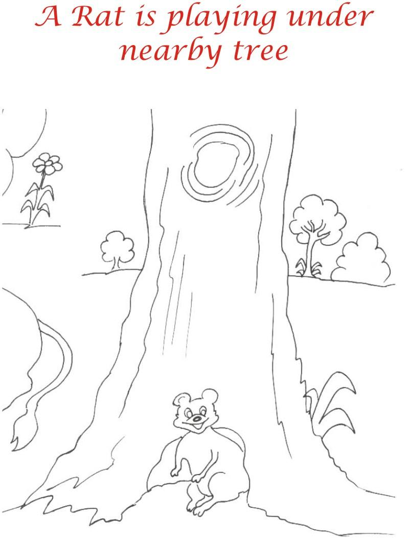 Rat in Jungle printable coloring page for kids