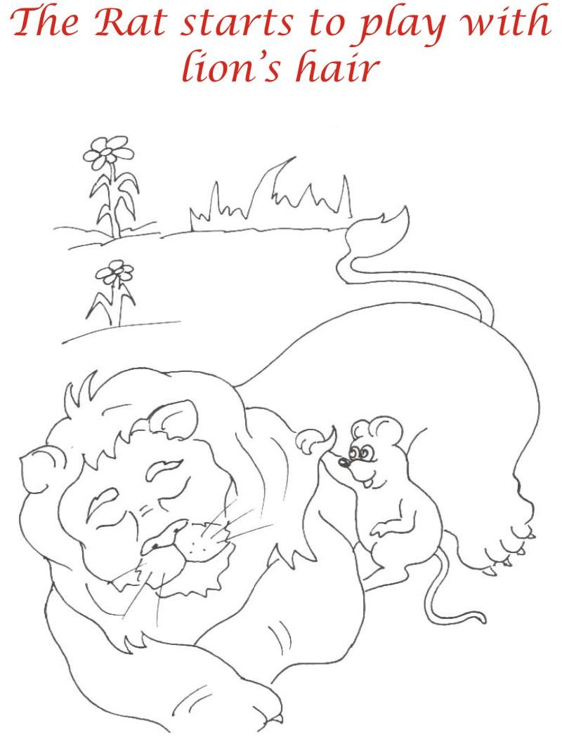 Rat plays with Lion coloring page for kids
