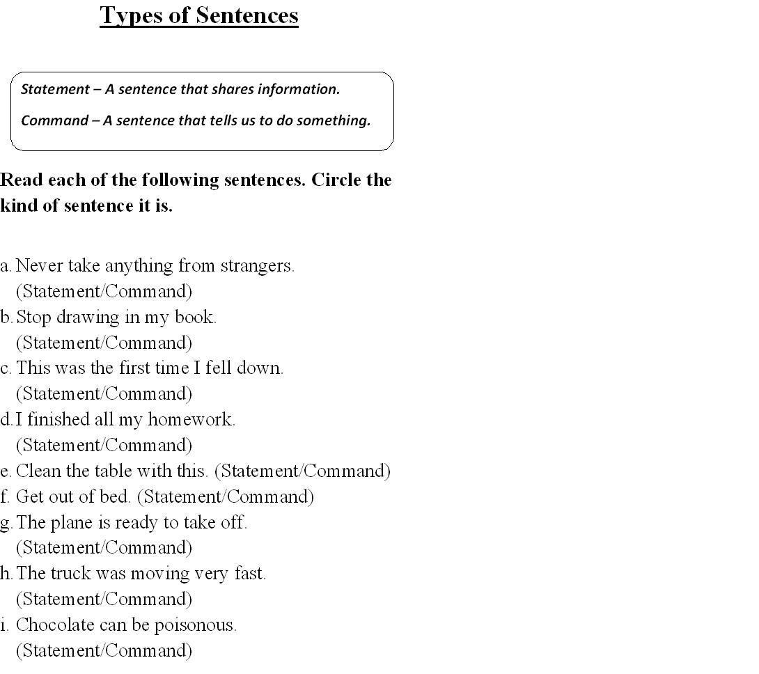 Kinds Of Sentences Worksheet Grade 2