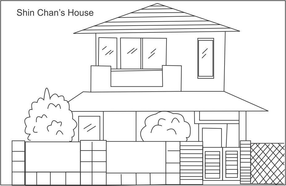 Shin Chan House Drawing For Kids Sketch Coloring Page