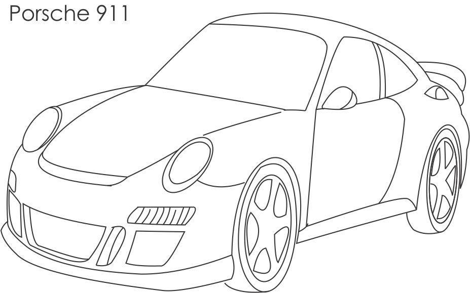 Super car Porsche coloring page for kids