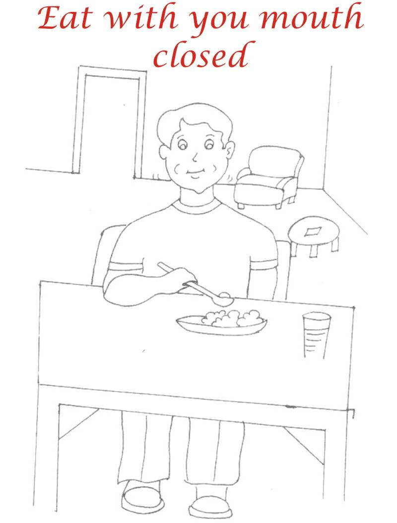 Eating manners coloring printable page 2 for kids