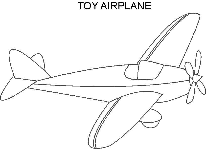Airplane toy coloring printable page for kids