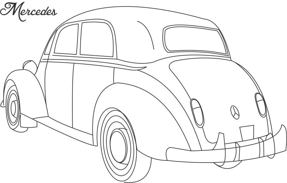 Mercedes car coloring printable page for kids 2