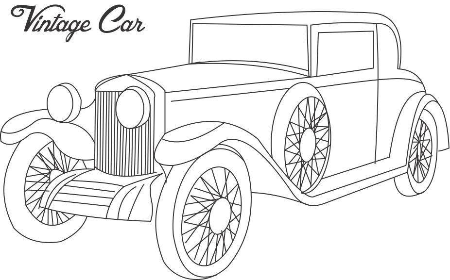 Vintage car coloring printable page for kids 3