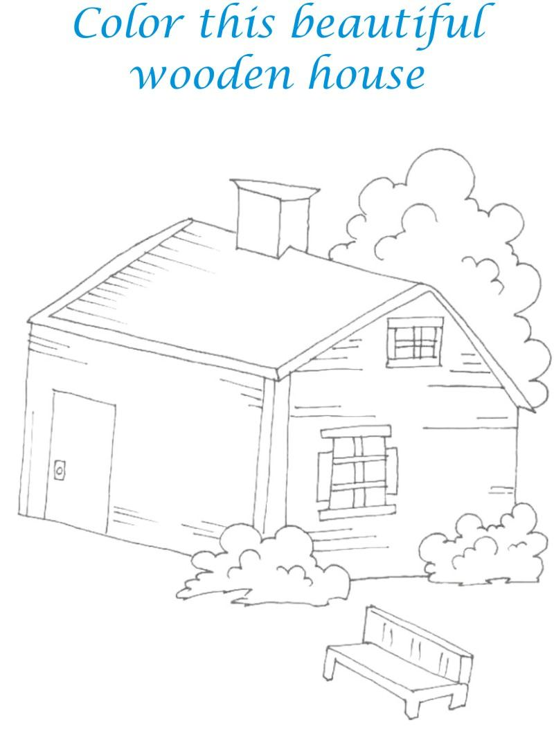 Sweet home coloring printable page for kids 6