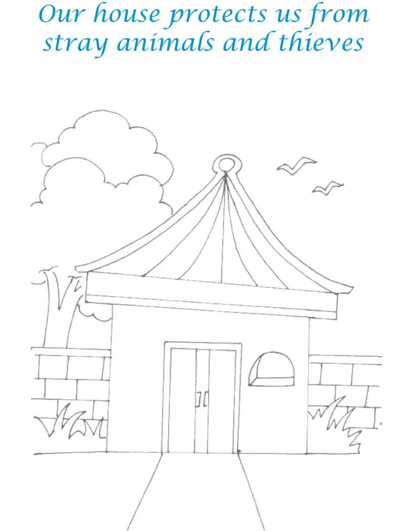 Sweet home coloring printable page for kids 10