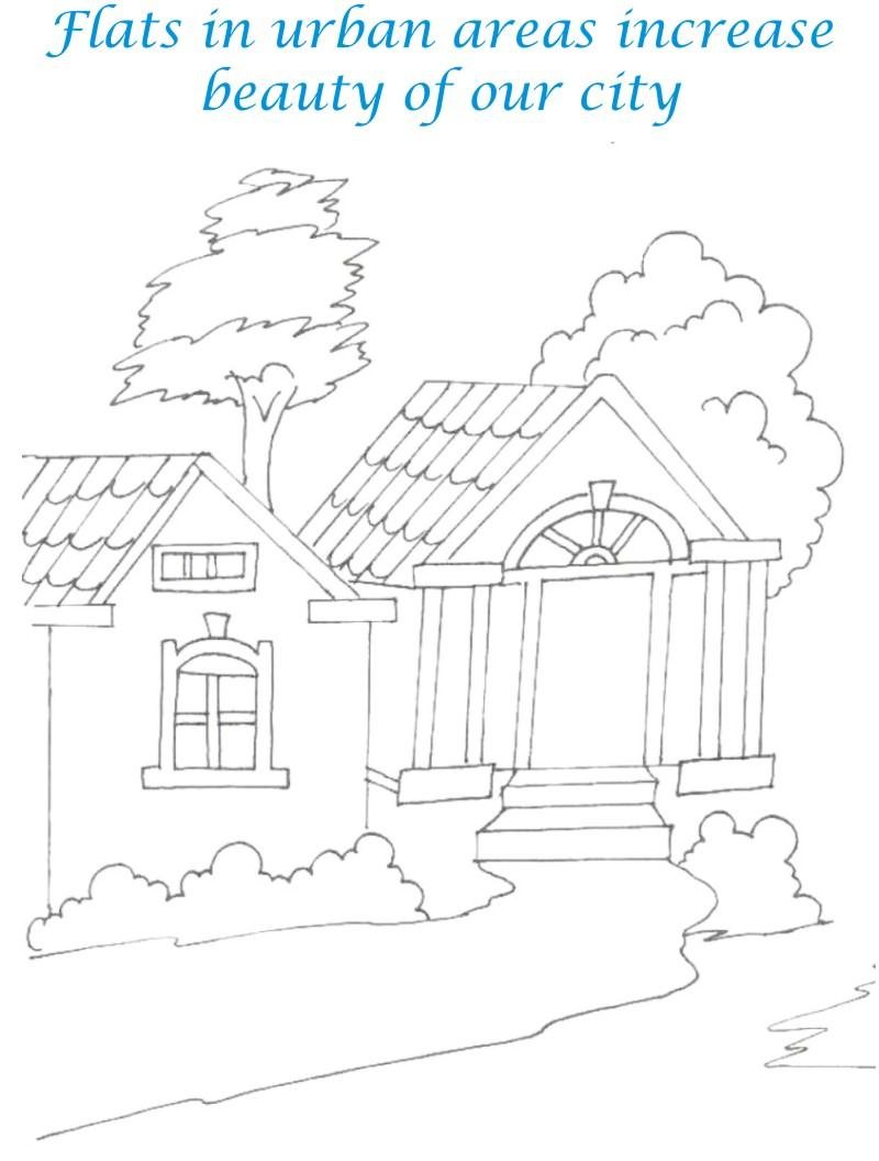 Sweet home coloring printable page for kids 12
