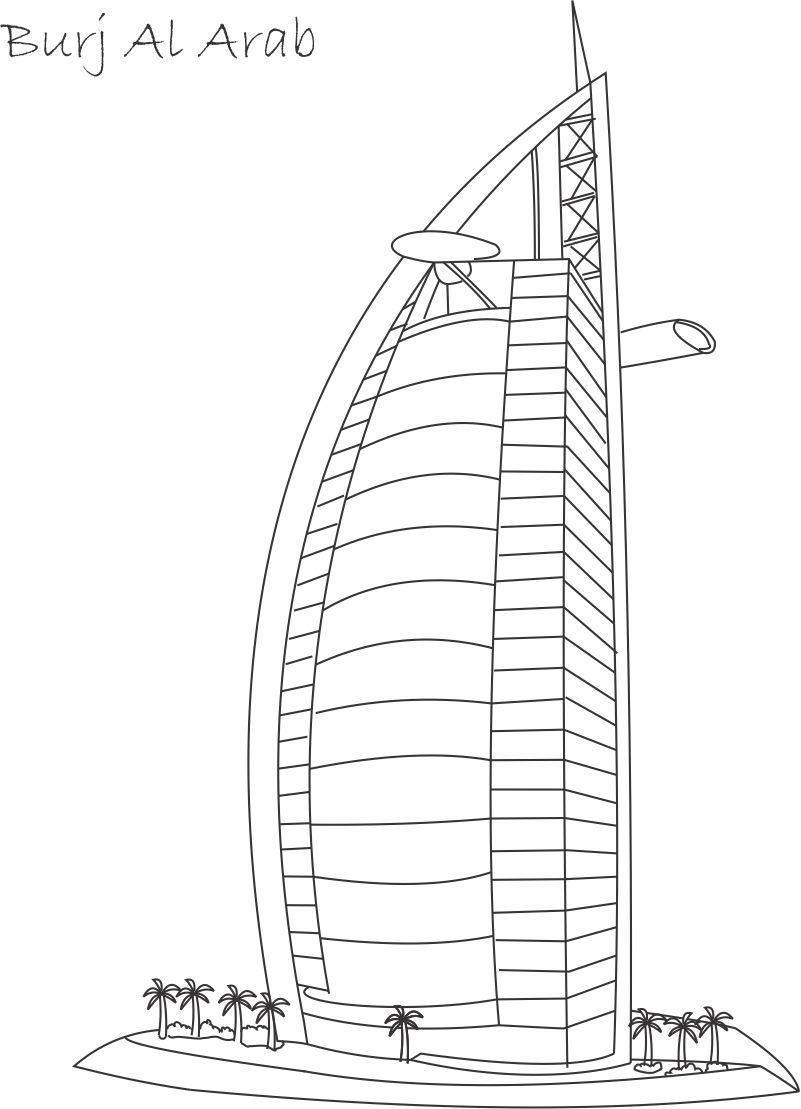Burj Al Arab printable coloring page for kids