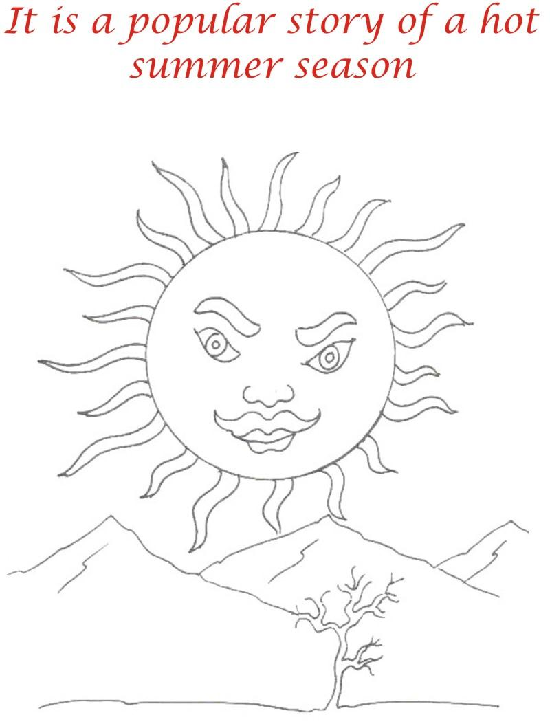 Thirsty crow story coloring page for kids 1