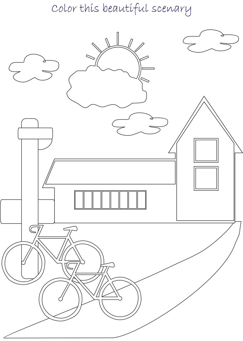 Beautiful scenery coloring page for kids 3