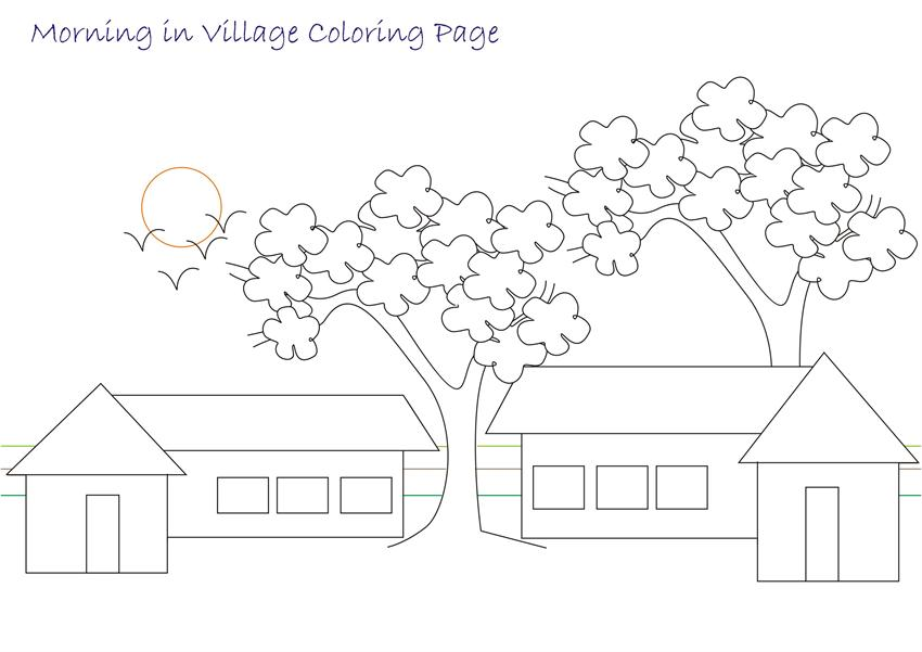 Beautiful scenery coloring page for kids 5