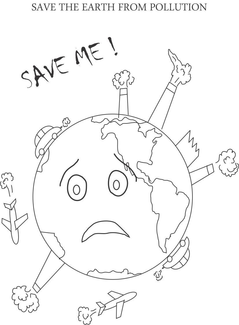 Control pollution printable coloring page for kids