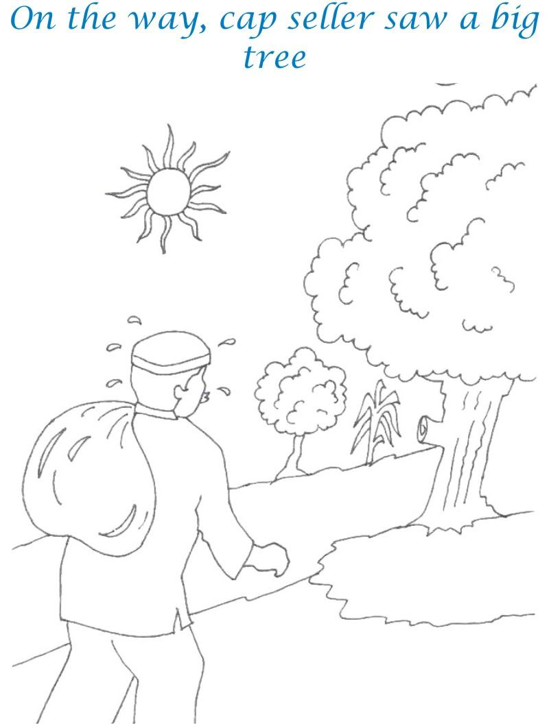 Cap seller story coloring page for kids 4
