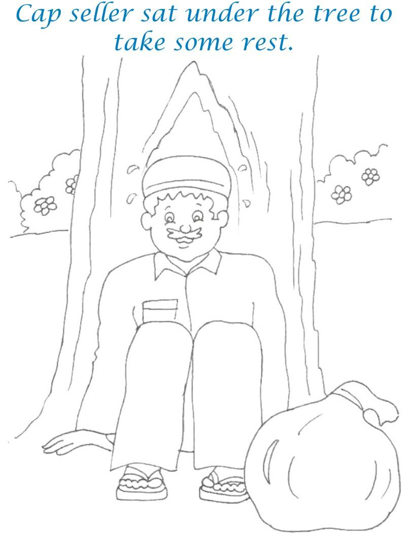 Cap seller story coloring page for kids 5