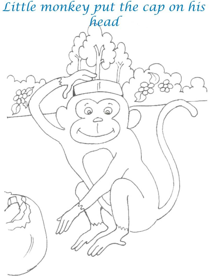 Cap seller story coloring page for kids 11