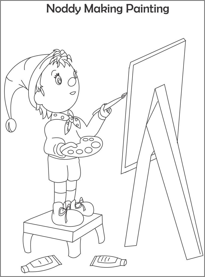 Noddy making painting coloring page for kids