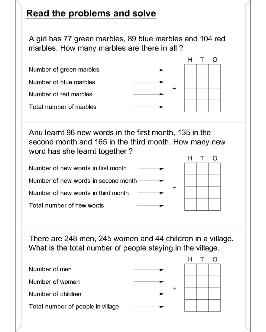 medium resolution of Maths word problem worksheets for addition