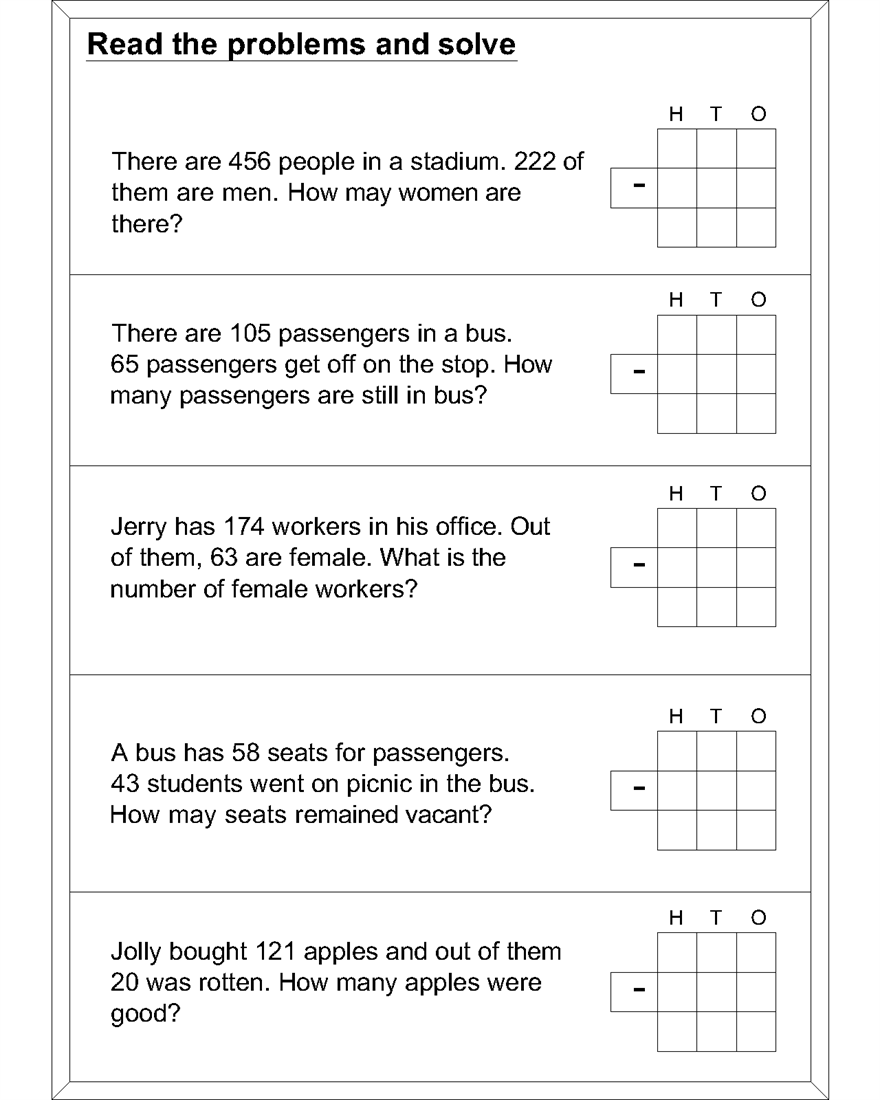 hight resolution of Word problem subtraction math worksheets