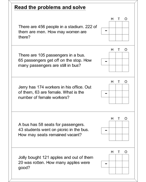 small resolution of Word problem subtraction math worksheets