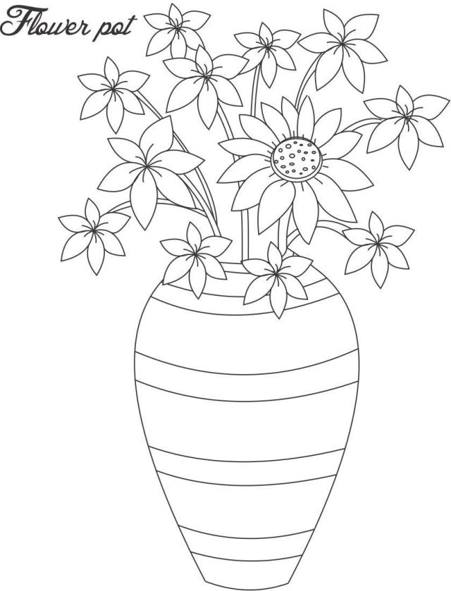Flower pot coloring page 16