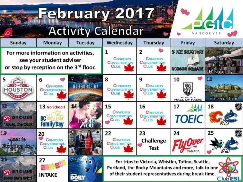 加拿大語言學校PGIC201702課外活動行事曆