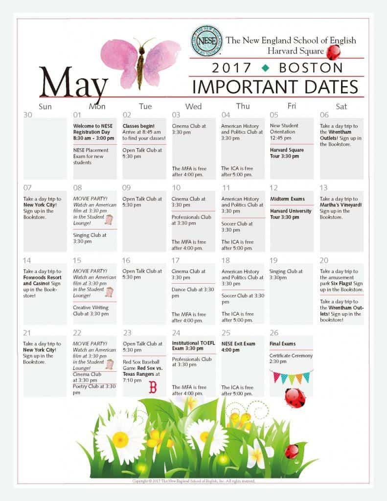 美國波士頓語言學校NESE 5月份課外活動行事曆