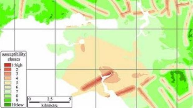 A new study has mapped which parts of Auckland are most at-risk from volcanic eruptions. Areas in red the most at-risk, and areas in green are the safest.