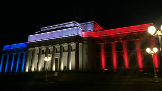 The Auckland Museum has also donned the tricolour in a show of support for France.