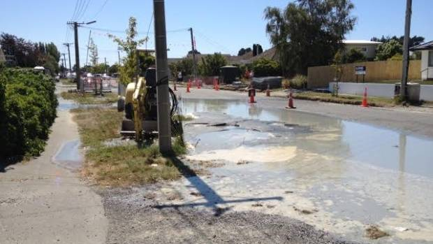 Liquefaction is blocking this New Brighton street.