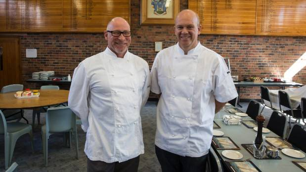 Robert McDonald - Head Chef overall, left, and Craig Johnston - Leading Chef Junior Campus in the Dilworth cafeteria ...