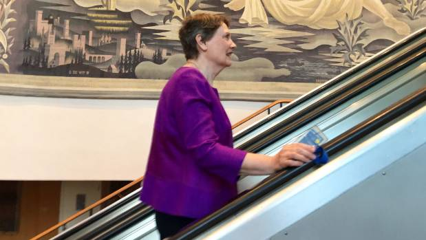 On the way up. Helen Clark makes her way to the UN General Assembly where she debated other candidates for the top job.
