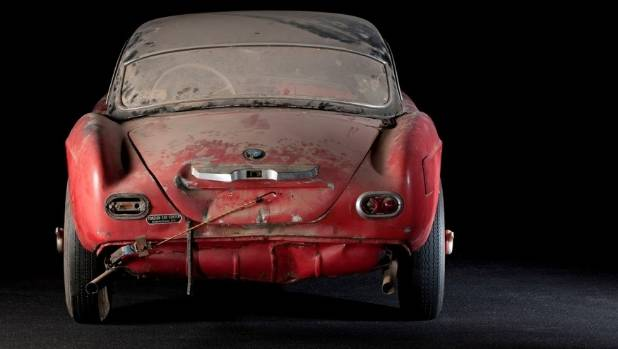 This dilapidated 1957 BMW 507 was once owned by the King of Rock 'n' Roll, Elvis Presley.