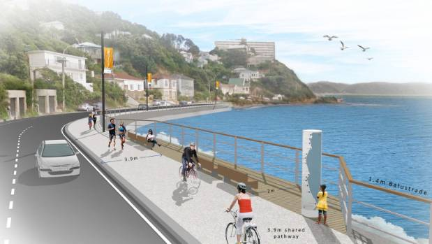 The shared cycling and pedestrian path along Evans Bay Parade.