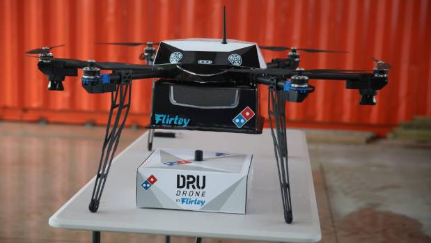 A pizza drone delivery demonstration was conducted by Domino's in Auckland on Thursday.