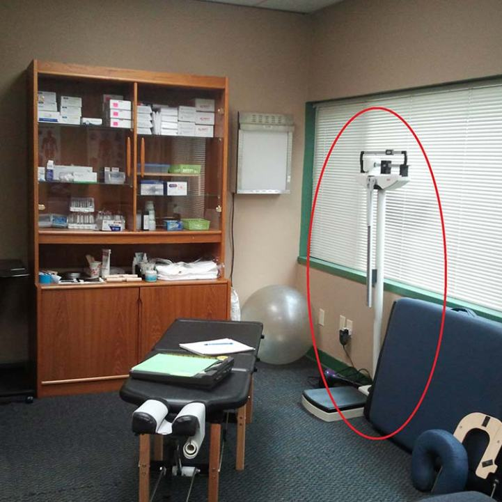 doctor's office cluttered with too much equipment