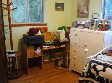 decluttered guest room