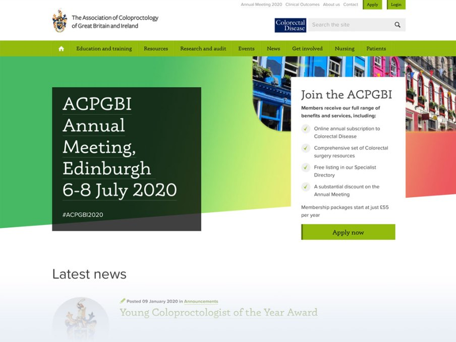 Association of Coloproctology of Great Britain and Ireland website homepage