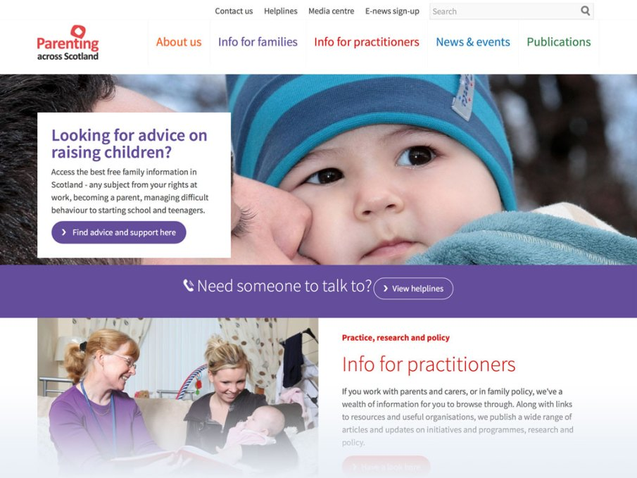 Parenting across Scotland website homepage