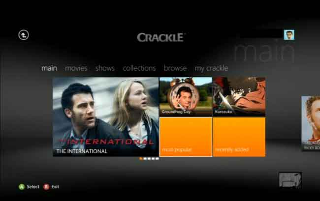 Crackle Xbox 360 App