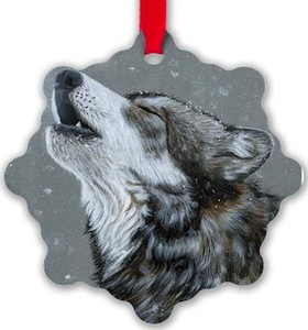 Howling Wolf Christmas Ornament