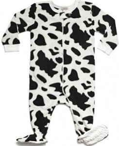 Cow Print Fleece Pajamas